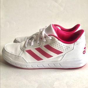 Adidas White/Pink Athletic Girls' Shoes Size 3